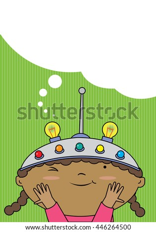 A girl wearing a thinking helmet. Green background thought bubble - stock vector
