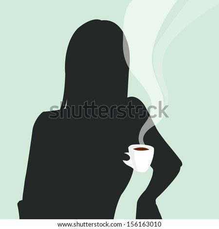 A Girl with a Cup of Coffee - stock vector