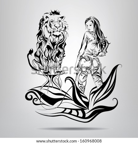 A girl with a lion tamer in the patterns. Vector illustration - stock vector