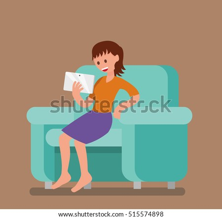 a girl with the tablet, the woman with the tablet. vector, illustration, flat