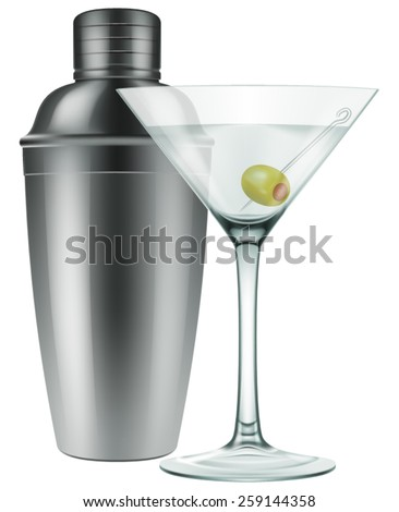 A glass of Martini with olive and a silver shaker. Photo-realistic EPS10 Vector. - stock vector