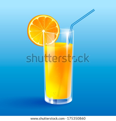 A glass of orange juice. Isolated. - stock vector