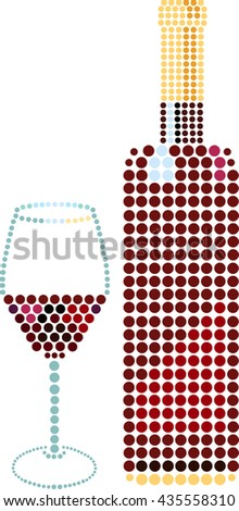 A glass of red wine and a bottle, drawn in circles, scalable vector graphic; design elements for a restaurant wine list or tasting invitation - stock vector