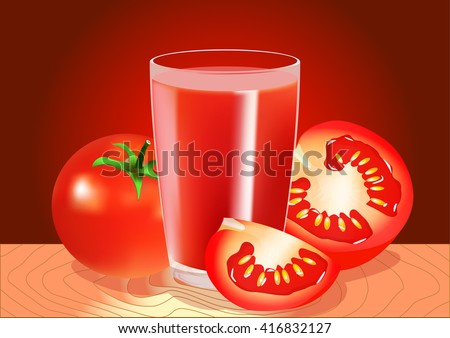 A glass of tomato juice and tomatoes. Vector illustration