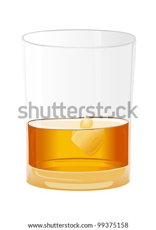 a glass of whiskey and ice isolated on white background