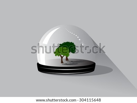 A glass sphere, two trees and the falling star - stock vector