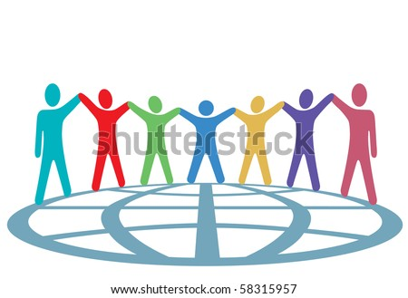 A global group of symbol people hold up their arms and hold hands around a globe in a spirit of togetherness. - stock vector