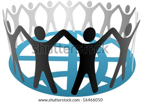 A global group of Symbol People in a circle, ring, chain of cooperation, community on a blue globe. - stock vector