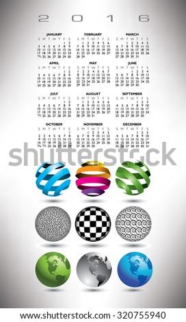 A 2016 globe calendar for print or web - stock vector
