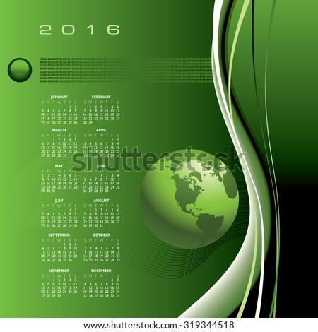 A 2016 globe calendar print or web - stock vector