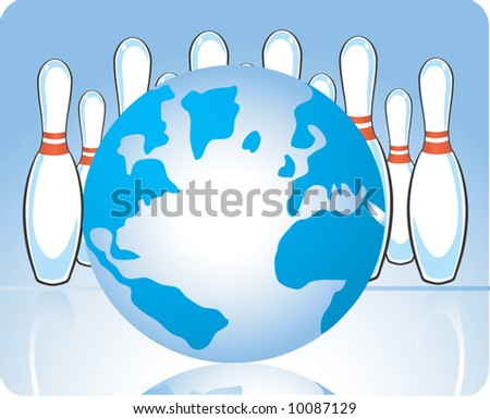 a globe with bowling pawns	 - stock vector