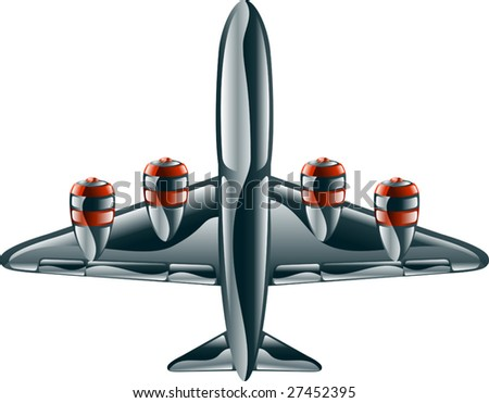 A glossy metallic passenger commercial aeroplane icon illustration.