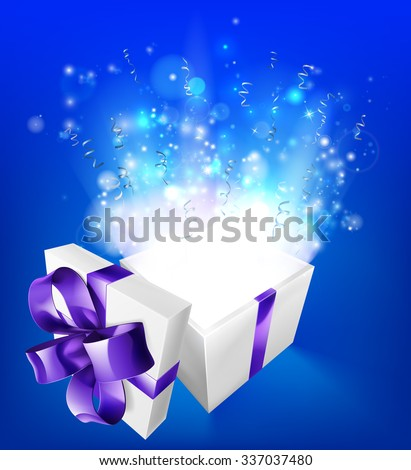 A glowing magical gift box concept for an exciting birthday, Christmas or other gift or present. - stock vector
