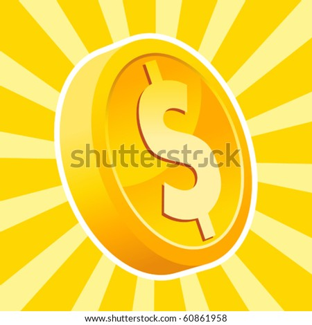 A gold dollar coin on bursting background - stock vector