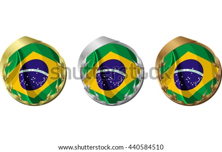 A gold, silver and bronze medal with the flag of Brazil inside