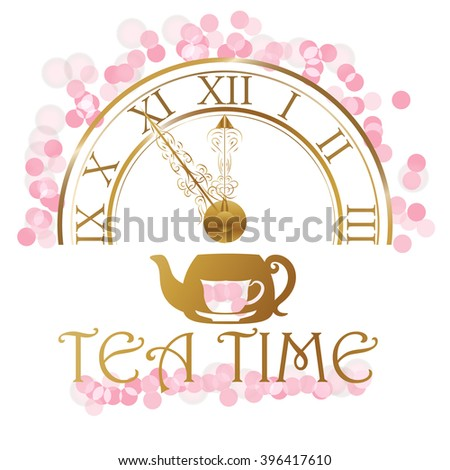 A gold watch and a kettle with cups. tea time . vector - stock vector