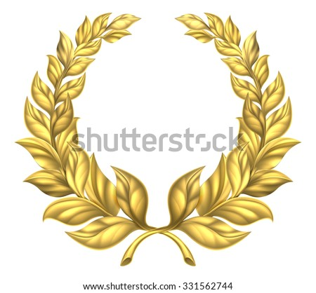 A golden laurel wreath design element illustration of a circular gold wreath made up of two branches - stock vector
