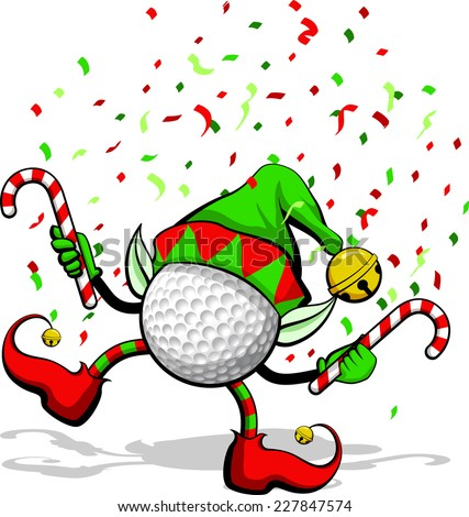 A golf ball celebrating Christmas by dancing with candy canes, elf ears, hat and ears, and confetti. - stock vector