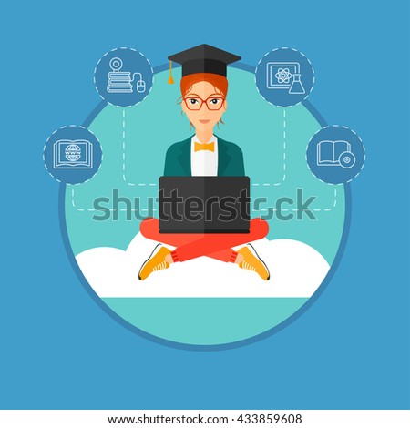 A graduate sitting on the cloud. A graduate in graduation cap working on a laptop. Education technology and graduation concept. Vector flat design illustration in the circle isolated on background. - stock vector