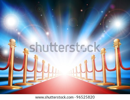 A grand entrance with red carpet, velvet rope and photographers flash lights going off - stock vector