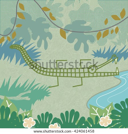 A graphic Crocodile/Alligator, with it's jaws open, sitting by a pond, surrounded by jungle.