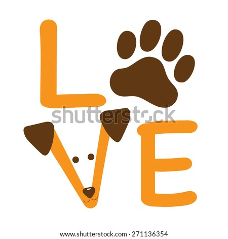 A graphic of the word love showing a dog paw and a dogs face - stock vector