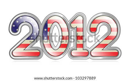 "A graphical depiction of the number ""2012"" with an american flag pattern. Eps 10 Vector."