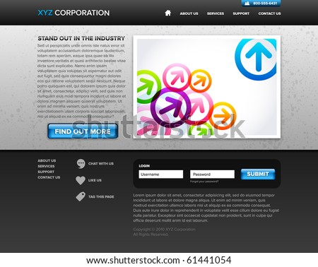 A gray and blue dark website homepage design - stock vector