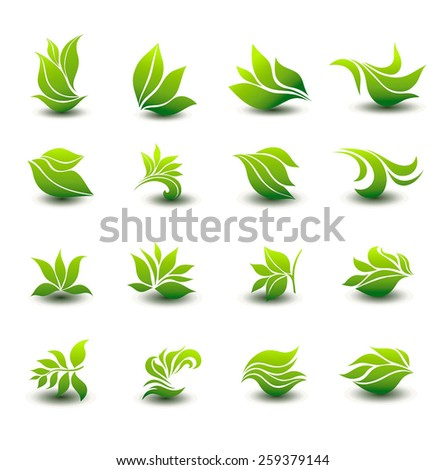 a great set of icons of stylized green leaves - stock vector