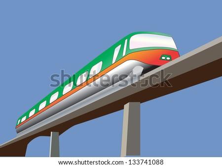 A Green and Orange Monorail Train on a bridge - stock vector