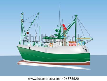 A Green and White Fishing Boat sailing on a calm sea - stock vector
