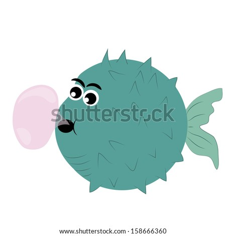 a green bubble fish with a pink bubble coming out from his mouth