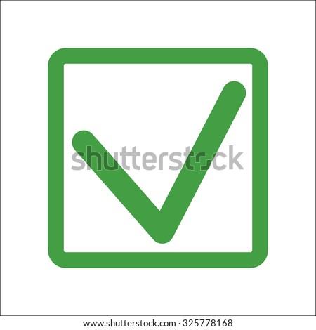 A green check mark in the green box. - stock vector