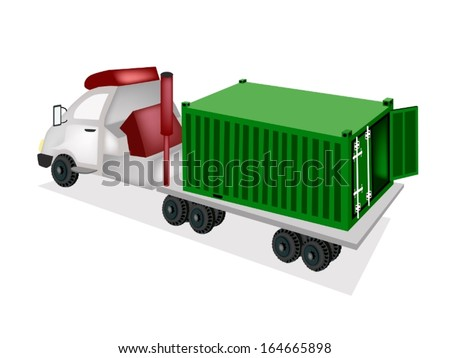A Green Freight Container on The Back of A Flatbed Truck, Tractor Trailer or Flatbed Articulated Lorry for Trucking Products and Materials from Overseas Shipping.