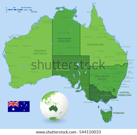 Green High Detail Vector Map Australia Stock Vector - Australia major cities map