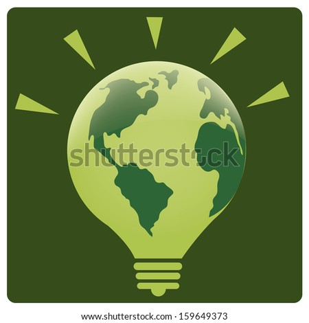 a green lightbulb with our planet as its skin