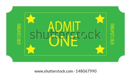 A Green Ticket. Vector - stock vector
