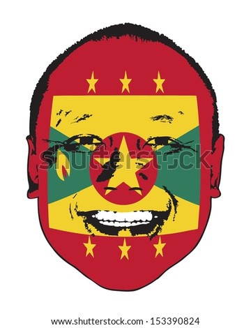 A Grenada flag on a face, isolated against white.  - stock vector