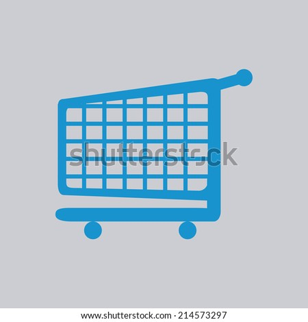a grey background with a blue shopping cart