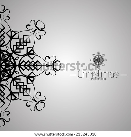 a grey christmas card with a snowflake and some text - stock vector
