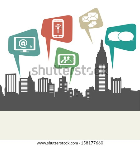a grey silhouette of a city connected by social networks - stock vector