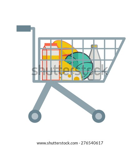 A groceries inside the supermarket cart. A contemporary style. Vector flat design illustration with isolated white background. square layout
