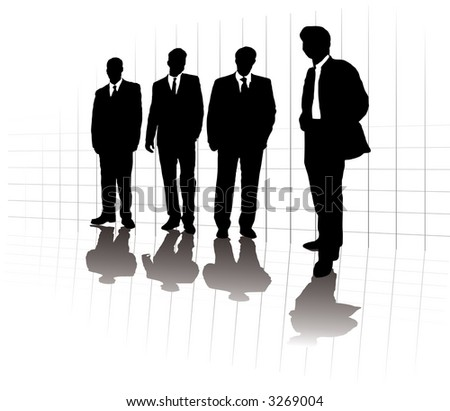 A group of business men in a line up on a grid with a lone man out in front