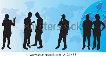 A group of business people silhouettes - stock vector