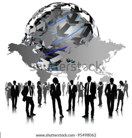 a group of business people with globe-vector - stock vector