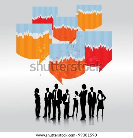a group of business people with speech bubbles - stock vector