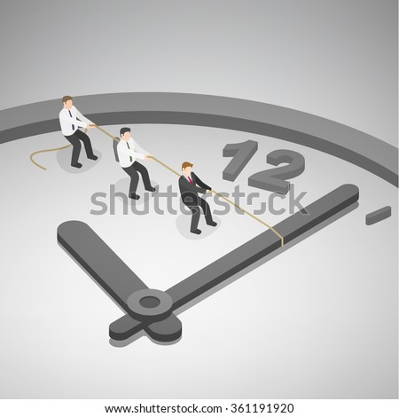 A group of businessman trying to turn back time by pulling on a rope attached to the hands of a clock. Time management business concept. Isometric illustration vector EPS 10. - stock vector