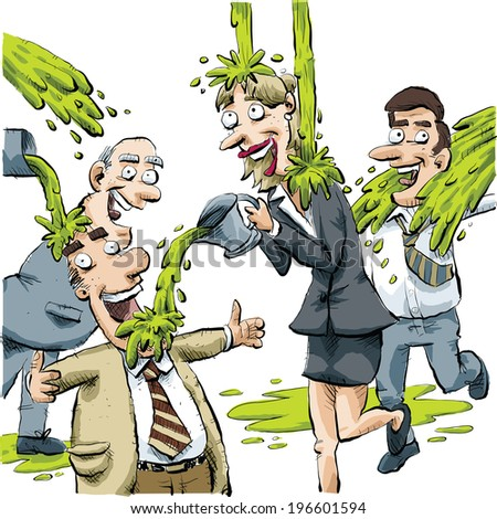A group of businessmen and businesswomen play fight with green slime. - stock vector