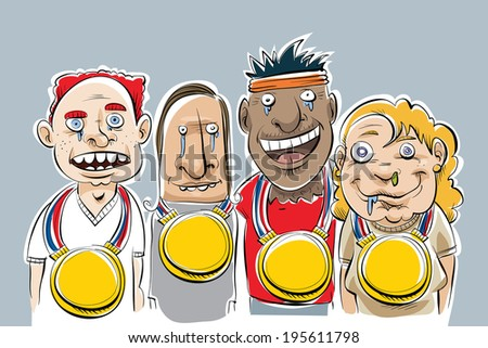 A group of cartoon nerds who won very large gold medals. - stock vector