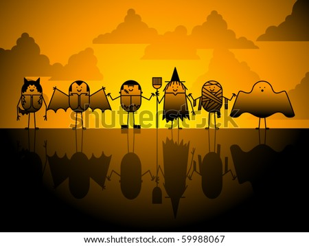 A group of characters gather on Halloween evening - stock vector